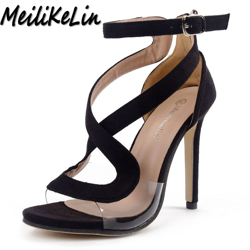 MeiLiKeLin new women high heels sandals shoes woman peep toe Sexy women's Cross Strap Buckle wedding party star stiletto shoes pu leather martins women boots snow boots military girls for casual walking shoes winter femme bota 2017 7687