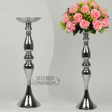 10pcs/lot Wedding master table candlestick, silver wedding road lead,Flower Metal Vase,Wedding Centerpiece 47cm height