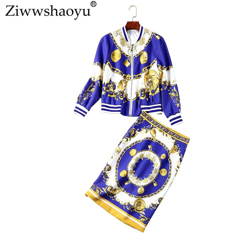 O Europe Costume Multi Haute Etats Et Veste Imprimer cou Ziwwshaoyu Les Nouvelle Street unis L'automne Taille Jupe Moitié High 7dftq
