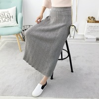 Korean Fashion skirts womens,casual knitted skirt All match pencil skirt long skirt winter women knitwear SH594