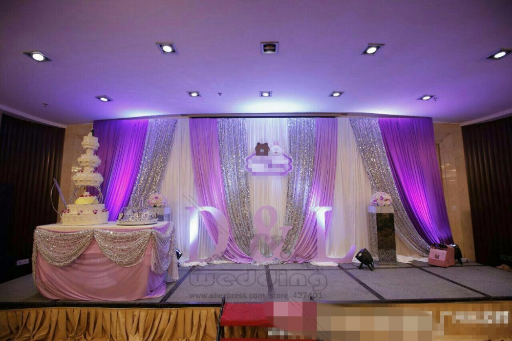 US $85 0 |Wedding Backdrop/Stage Curtain With Swag Sequin Wedding  Drapes/Stage Backdrop For Wedding Event&Party&Banquet Decoration-in Party  DIY