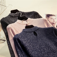 New Fashion Women Spring Autumn Long Sleeve Half Turtleneck Hollow Sweater Female Girls Office Lady Knitted