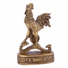 Brass Rooster on Ru Yi with Coin Feng Shui Enhancer