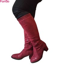 FAMSO 2017 Shoes  Boots black red Designer Autumn Motorcycle Boots Women Winter knee High Boots brown Flock Thick Heels  SBT4600
