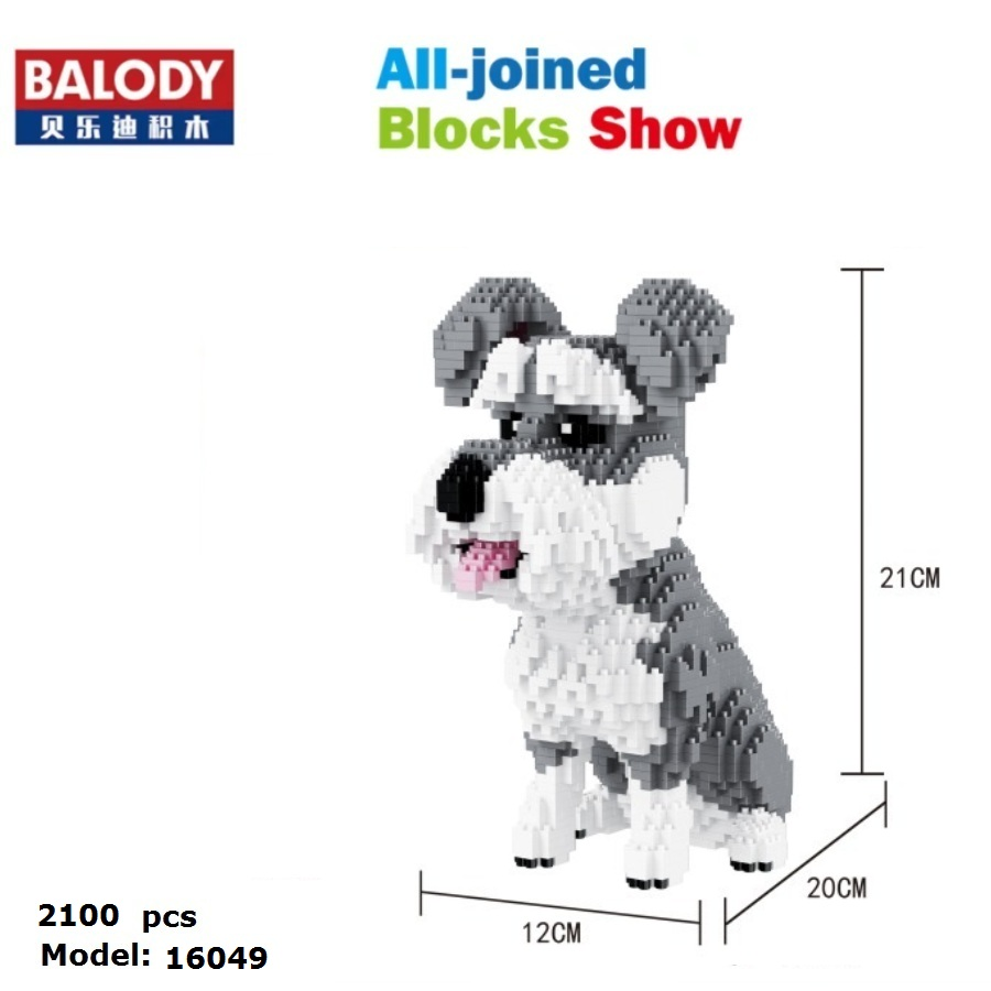 Balody Diamond Blocks Cute Dog Model  Plastic Building Toy Big Size Schnauzer Figures Brinquedos For Children Toys Lovely Gifts