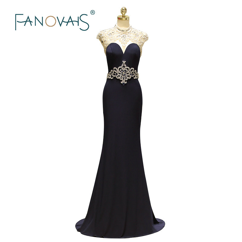 Navy Blue Spandex   Evening     Dresses   2019 Luxury Prom   Dresses   Vestido De Festia Longo Sexy Formal   Dress   High Neck Cap Sleeves
