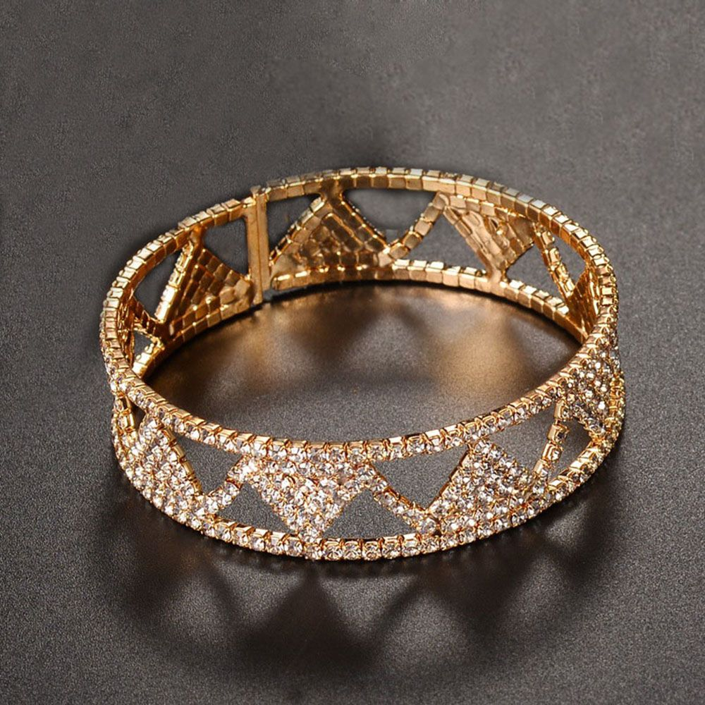 Rose Gold Armband Us 3 78 1 Pcs Fashion Wide Bangle Bracelet For Women Rose Gold Color Female Rhinestone Bracelets Girls Armband Wedding In Bangles From Jewelry