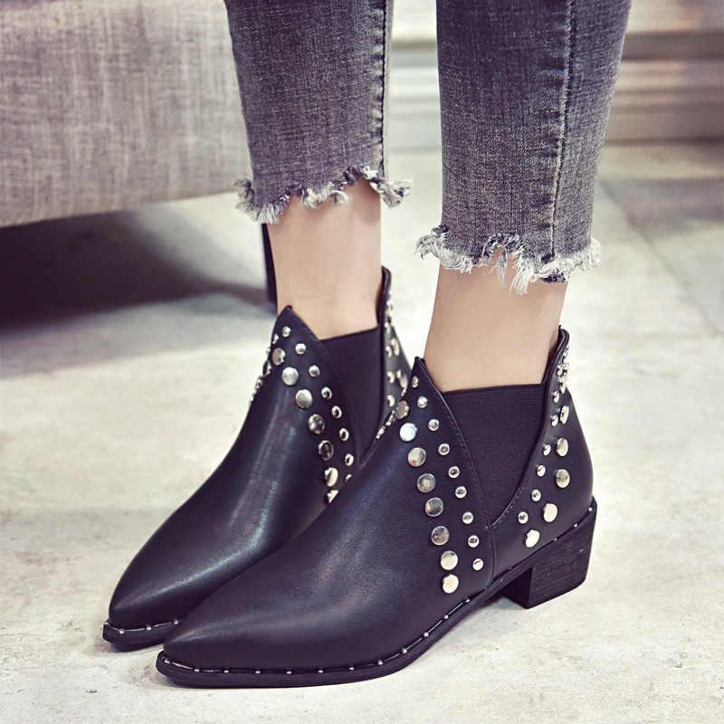 8558b47bb Masorini 2018 caliente nueva moda botas de cuero de las mujeres botas  remaches punta estrecha de
