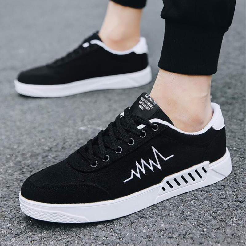Air Pour De rouge 2018 Mode Casual gris Plein Noir La En Des Hommes Sneakers Toile Respirant Blanc Classique À Plates Chaussures 11TBZ6