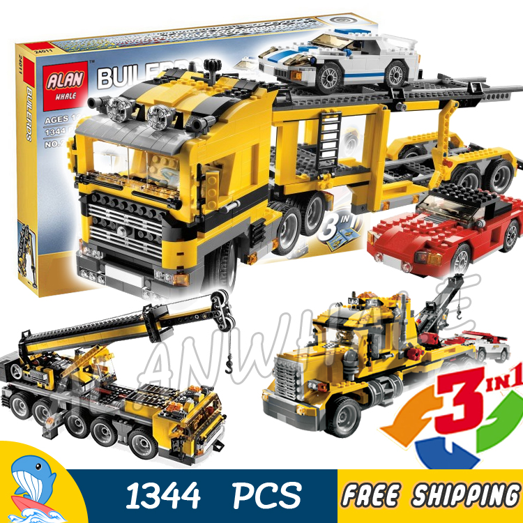 1344pcs 3in1 Creator Highway Transporter Tow Truck Mobile Crane 24011 DIY Model Building Blocks Toys Bricks Compatible with Lego free shipping tow truck diy enlighten block bricks compatible with other assembles particles