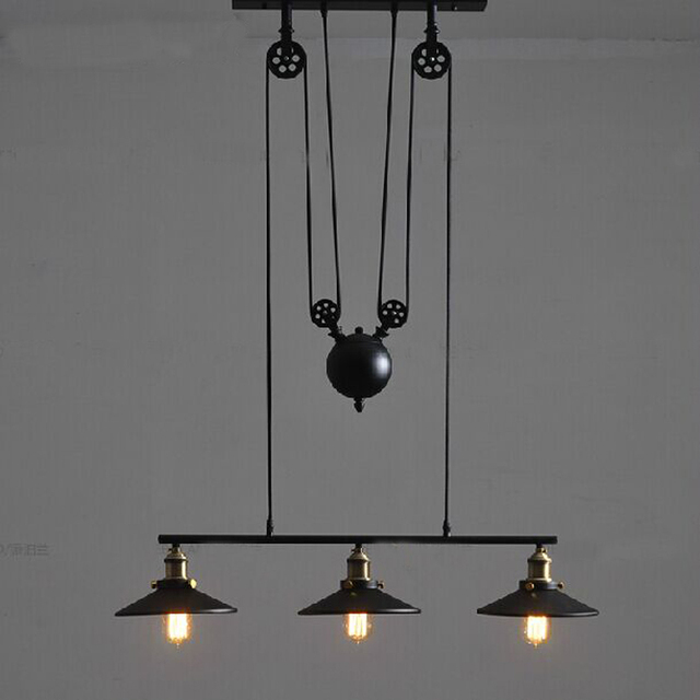 Retractable lighting Pendant Loft Vintage Iron Industrial E27 Bulb Pulley Lifting Pendant Light Adjustable Hanging Wire Lamp Retractable Lighting Touch Of Modern Loft Vintage Iron Industrial E27 Bulb Pulley Lifting Pendant Light