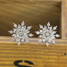 Korean fashion jewelry Exquisite rhinestone enamel crystal Christmas snowflake flower earrings drop shipping new year gift(China)