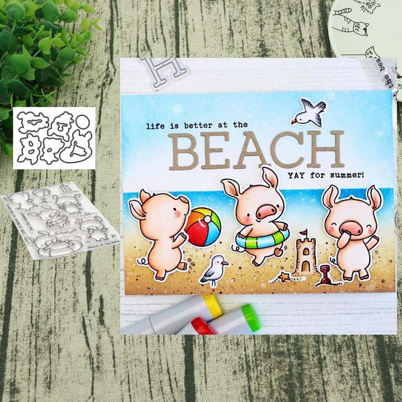 Pig Metal Cutting Dies And Clear Stamps DIY Scrapbooking Card Stencil Paper Card Album Decoration Paper