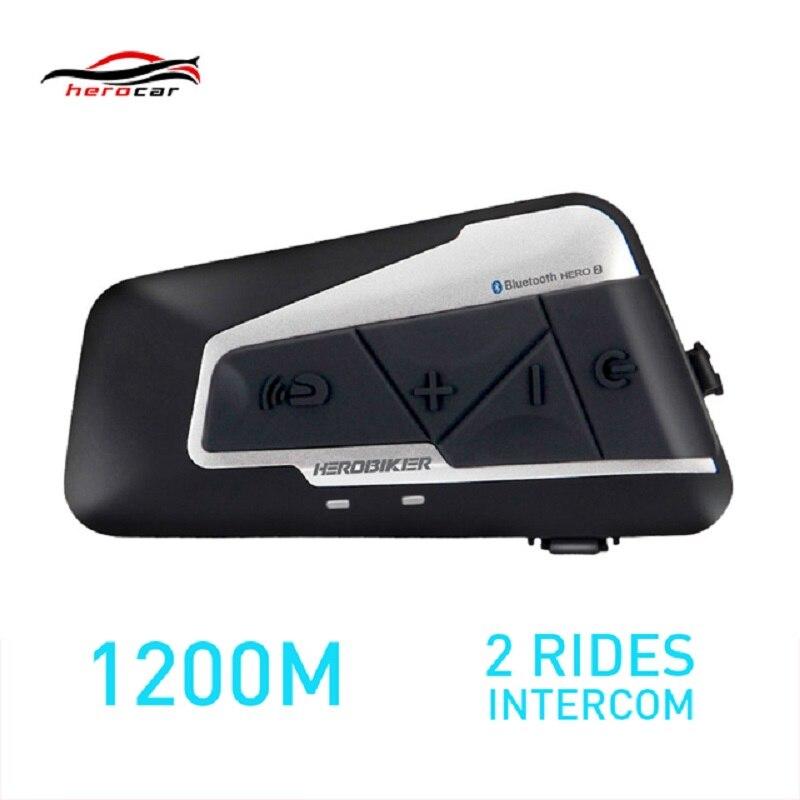 HEROBIKER 1200 m BT Moto Casque Interphone Étanche Sans Fil Bluetooth Moto Casque Interphone avec FM Radio pour 2 Manèges