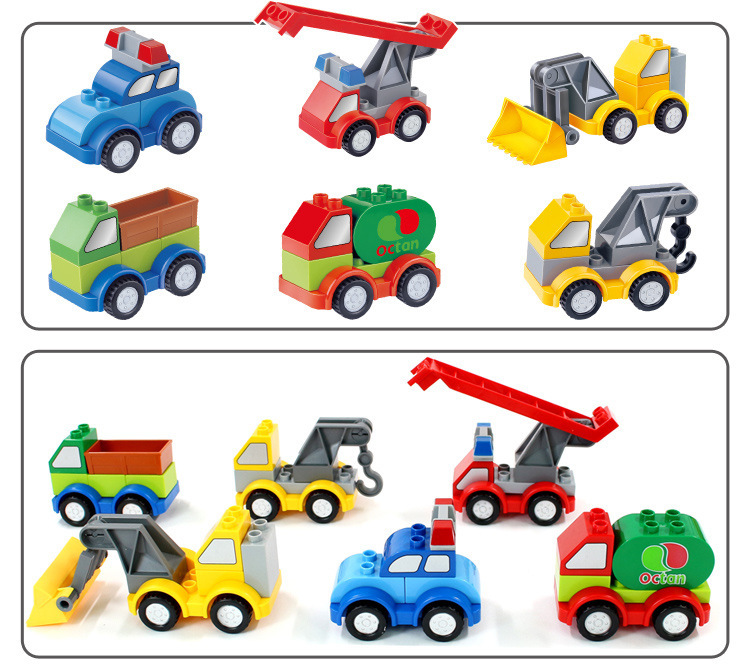 6 Cars Large Building Block compatible Duplo Vehicle Classic Piece Big Dot Brick Toy Accessory Bricklink umeile brand farm life series large particles diy brick building big blocks kids education toy diy block compatible with duplo