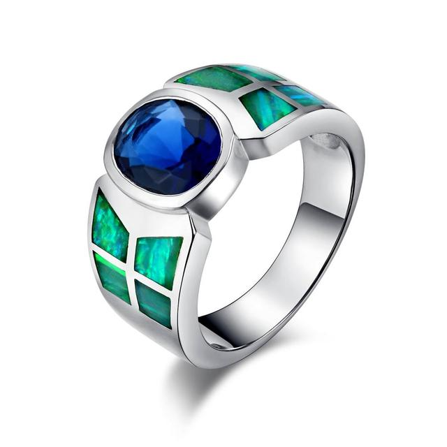 100% Solid 925 Sterling Silver Ring Created Sapphire Ring for Women&Men Crystal Opal Fine Jewelry Nature Stone