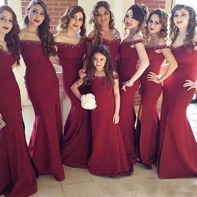 6d09f640e2 Burgundy Bridesmaid Dresses Crystal Sequins Beaded Bridal Gown Wine Red Robe  De Soiree Plus Size Custom