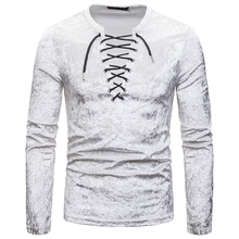 PADEGAO Brand high quality 2019 new mens personality casual multi-color diamond velvet Ou code loose lace long-sleeved T-shirt