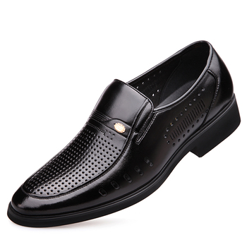 2019 Men Summer Leather Shoes Pointed toe Quality Microfiber Leather Black Soft Man Breathable Hole Out Shoes