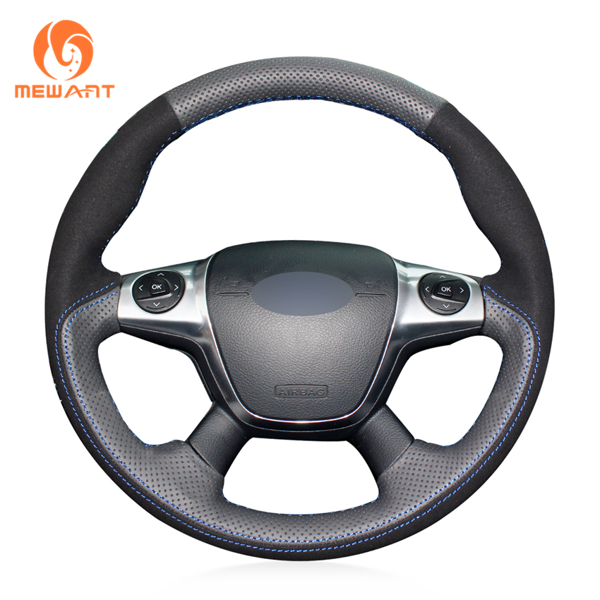 Aliexpress Com Buy Mewant Black Genuine Leather Black: MEWANT Black Genuine Leather Black Suede Steering Wheel