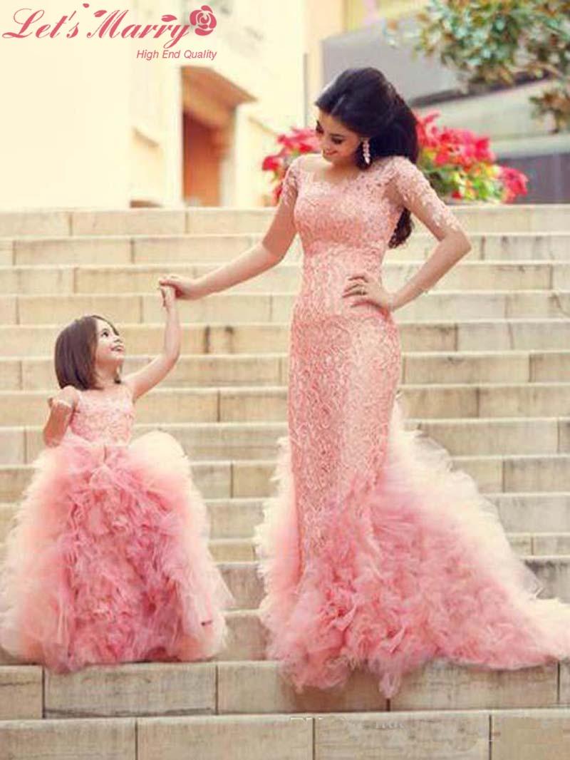WDZ 147 Hija Madre Vestidos de Novia color de Rosa Caliente Media ...