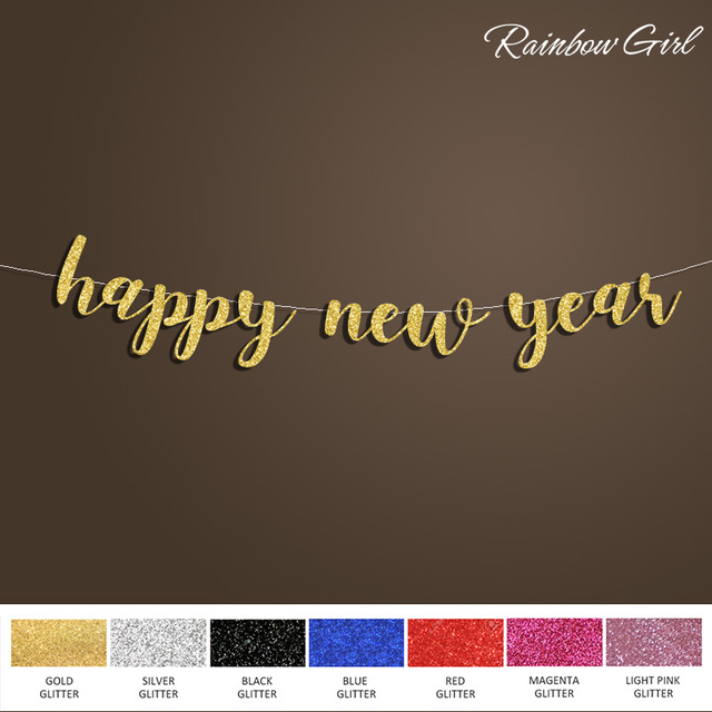 happy new years banner2018 party eve decor goldsilver glitter photo prop