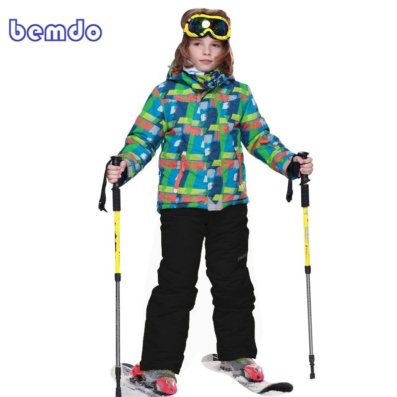 Winter Fleece Warm Ski Suit Boys Waterproof Mountain Skiing Jacket Coat + Bib Pants Children Kids Snowboard Snow Clothing 8011 boys girls snow suits kids ski jacket pants windproof waterproof breathable winter warm clothing children suit set for skiing