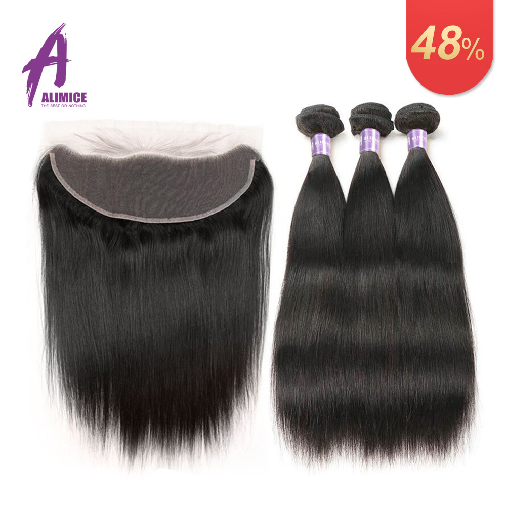 Alimice Indian Straight Hair Bundles With Frontal 13X4 Lace frontal With Bundles NonRemy Indian Hair Weave Human Hair Extensions