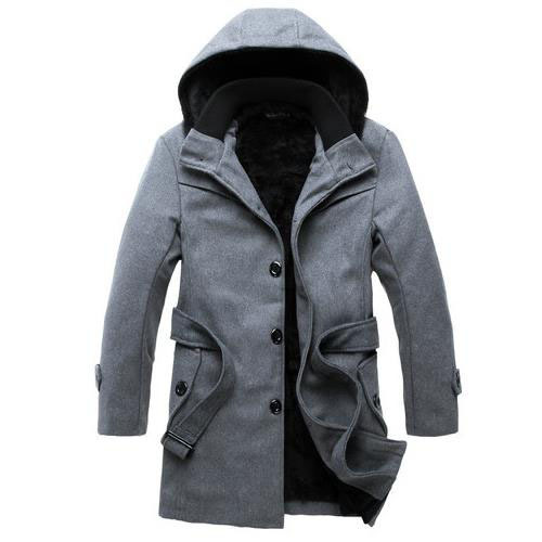 Korean Style Slim Fit Mens Pea Coat With Hood woolen thicken ...