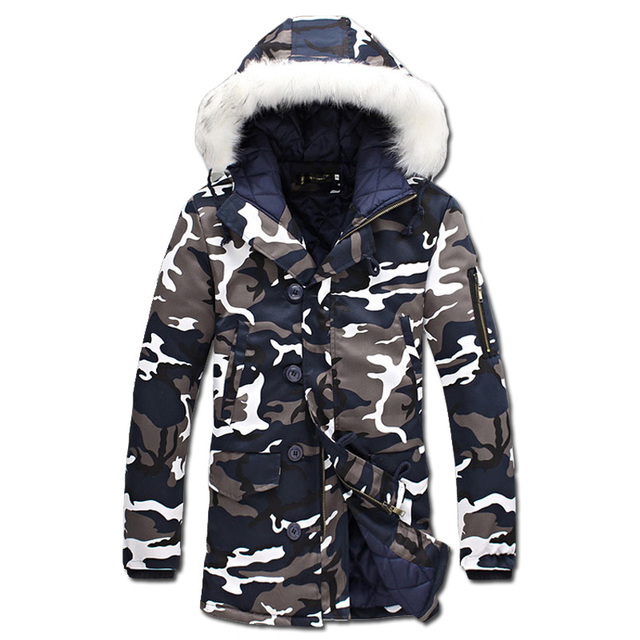 2016 Wadded Men Hooded Coats Veste Homme Parkas Jaqueta Masculina Men's Casual Fashion Slim Fit Medium Long Camouflage Jackets