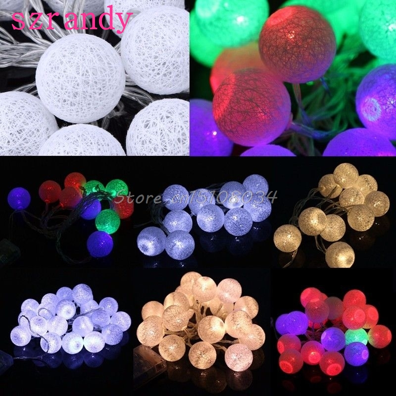 1.3M/2.3M 10/20 LED Cotton Ball Battery String Light Holiday Wedding Party Christmas Decor S18 Wholesale&DropShip