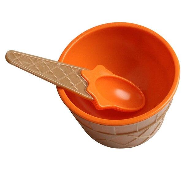 Hot Trẻ Em của Nhựa Ice Cream Bát Thìa Thiết Lập Bền ICE Cream CUP Cho Trẻ Em Các Cặp Vợ Chồng Bồn Quà Tặng Đáng Yêu Món Tráng Miệng bát 515