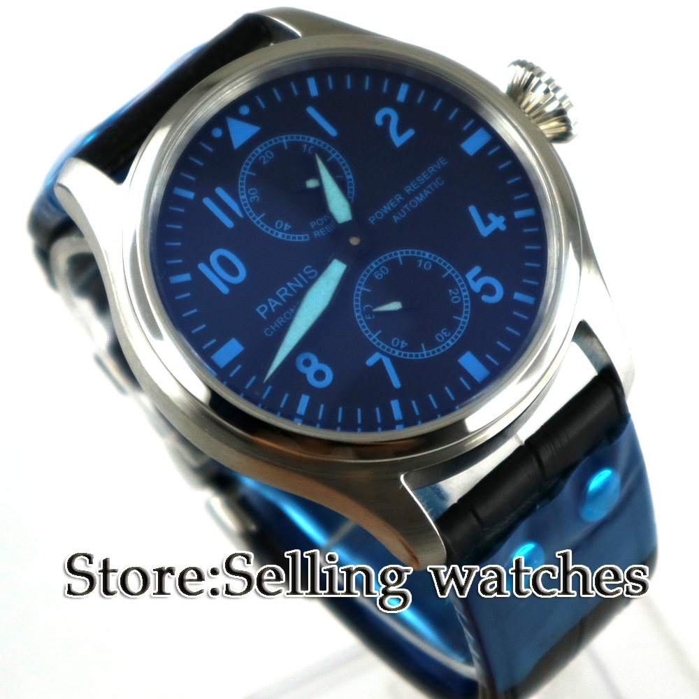 47mm PARNIS Black Dial Blue marks Power Reserve Luminous Stainless steel Case Chronograph Luxury Automatic movement mens Watch47mm PARNIS Black Dial Blue marks Power Reserve Luminous Stainless steel Case Chronograph Luxury Automatic movement mens Watch