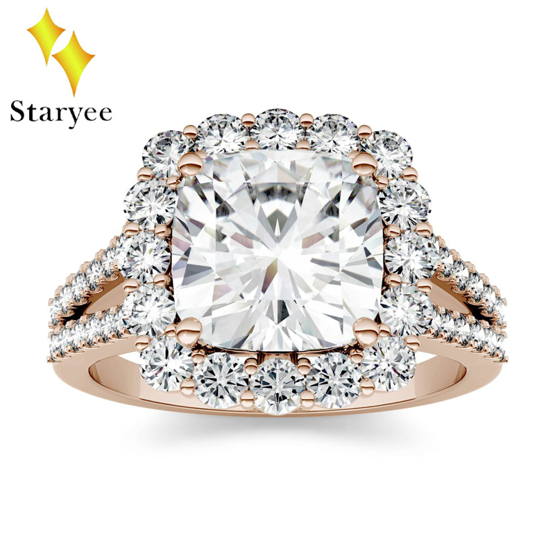 Test Positive 18k Solid Rose Gold Moissanite Diamond Rings Brilliant Halo Simulated Diamond Ring For Women Engagement Wedding genuine 18k 750 rose gold 1ct hearts arrows test positive lab grown moissanite diamond engagement pendant necklace chain women