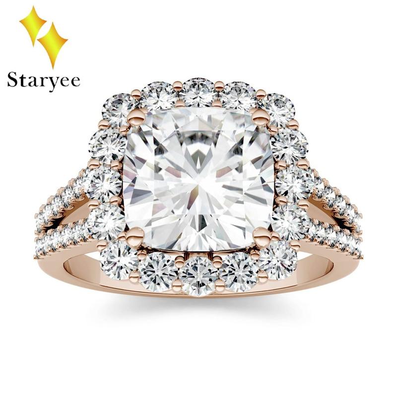 Test Positive 18k Solid Rose Gold Moissanite Diamond Rings Brilliant Halo Simulated Diamond Ring For Women Engagement Wedding