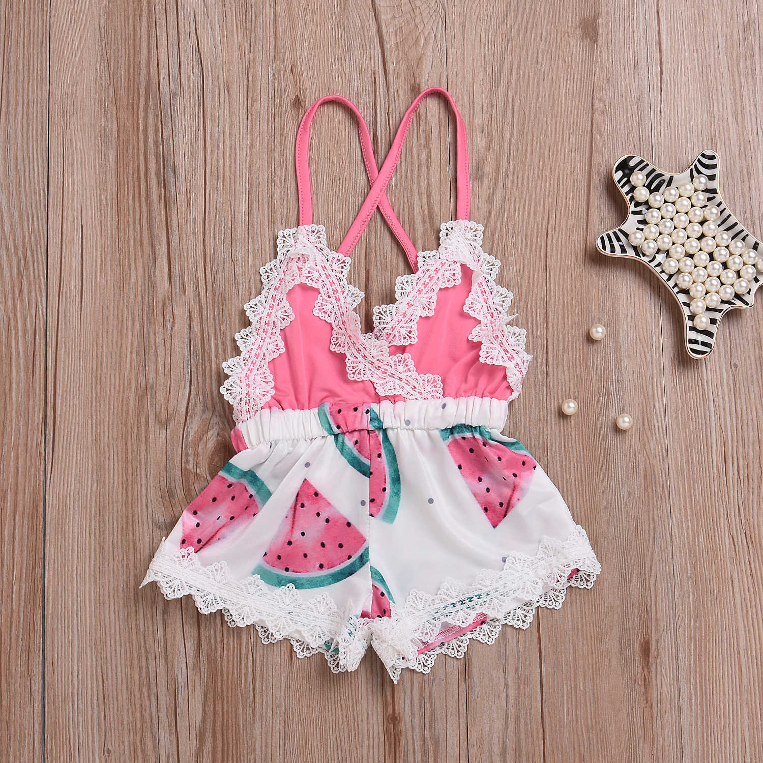 Newborn Baby Girl Clothes Sleeveless Strapped Watermelon Printed Summer Lace Romper Baby Toddler Baby Clothes Outfit 0-4 Years