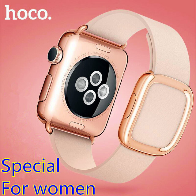HOCO Modern Buckle Women's WatchBand for Apple Watch Strap Belt Top-grain Leather Bracelet with Magnetic Closure w + Case Cover