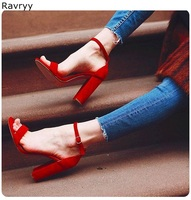 Red sandals suede leather women's high heels thick heel open toe sexy pumps ankle buckle fashion lady party date dress shoes