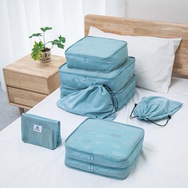 7 Pcs Travel Set Clothes Makeup Organizer Bags Toiletries Cosemetic Underwear Bra Shoes Storage Case Baggage Pouch Accessories