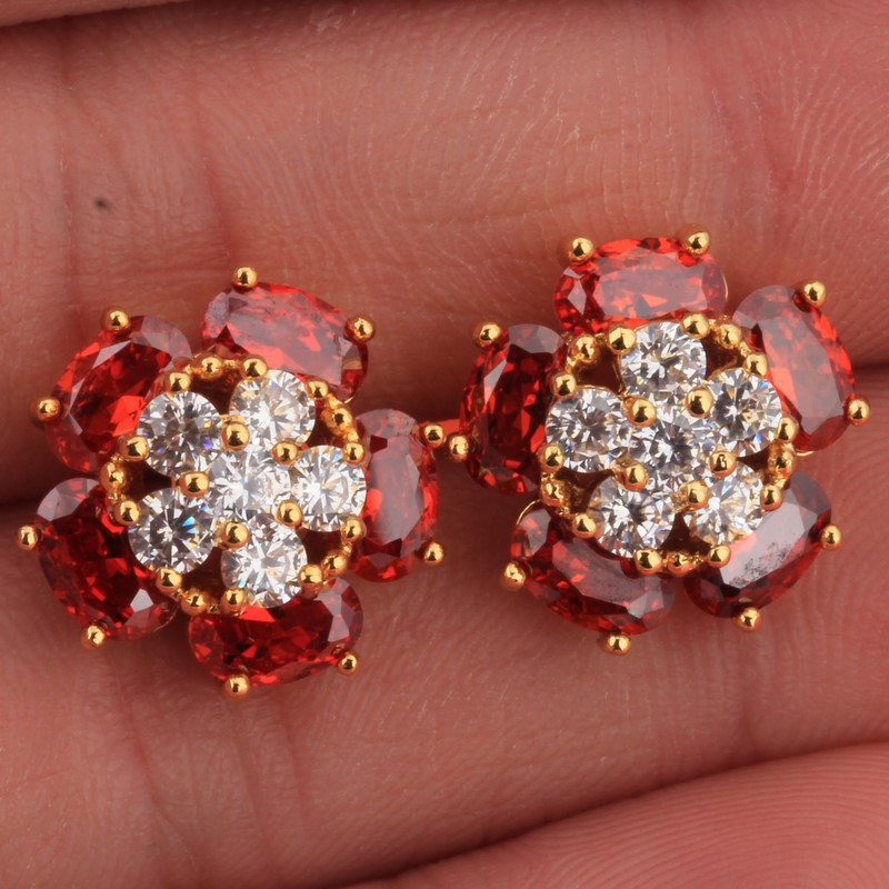 Good Choice Of Red Pomegranate Stone White Topaz Gems Fashion Women 18 K Gold Earrings B9241 In Stud From Jewelry Accessories On Aliexpress