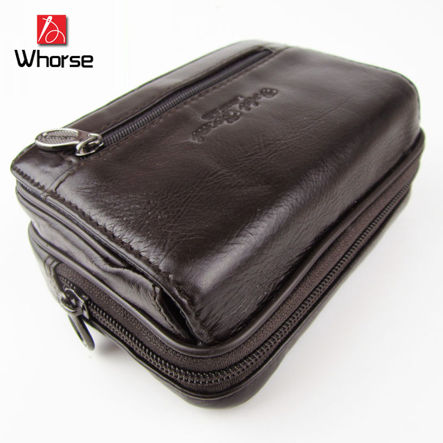 High Quality Casual Fashion Vintage Zipper Mini Men Genuine Leather Waist Pack Money Belt Bag Cowhide Men's Travel Bags WA71801