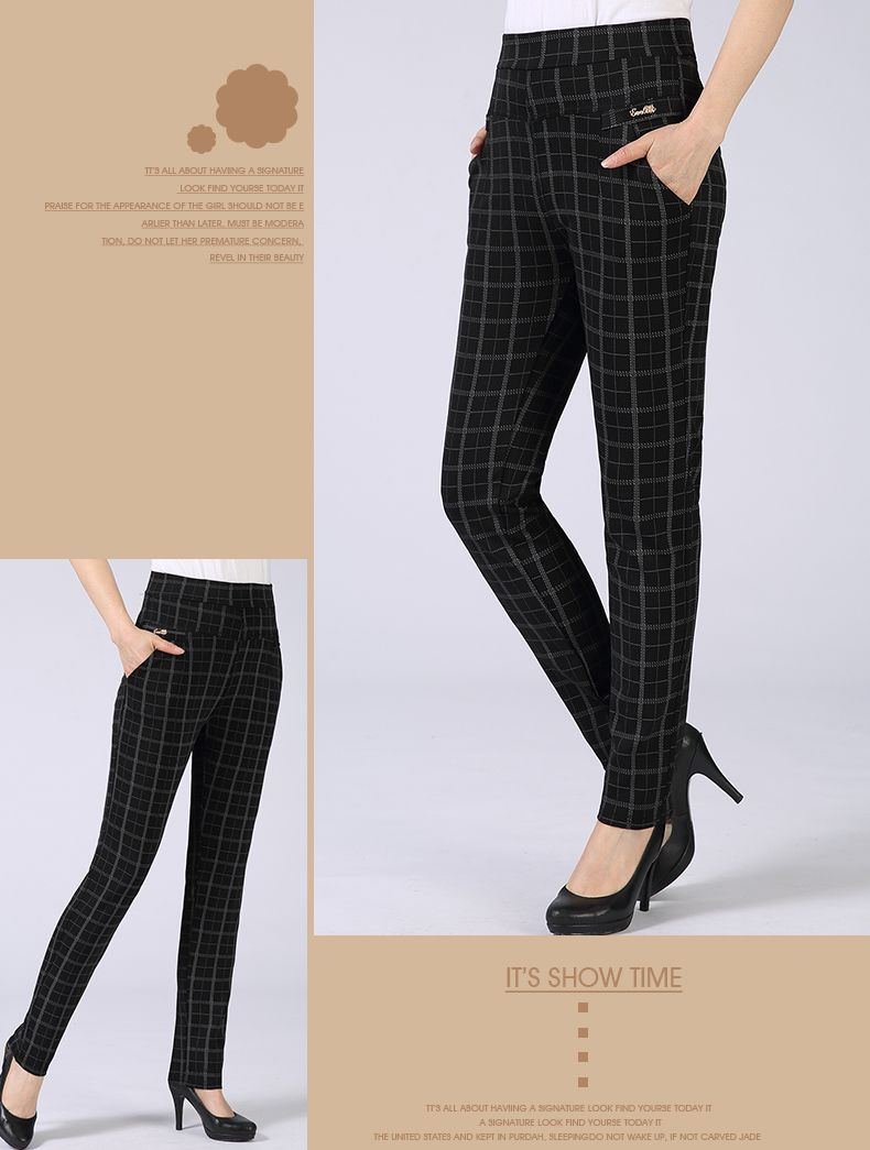 Spring Autumn Woman Casual Pant Navy Blue Black Khaki Gray Trousers Middle Aged Women Plaid Pattern Pants High Waist Trousers Mother Bottoms (14)