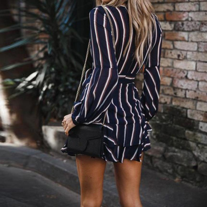 KANCOOLD Dress Women's Fashion Lantern Sleeve Casual Striped V-Neck Dress Casual Ruffle Mini Party Dress women 18AUG9 4
