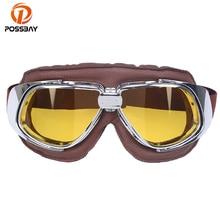 POSSBAY Ski Snowboard Skate Goggles Cafe Racer Glasses Vintage Motorcy