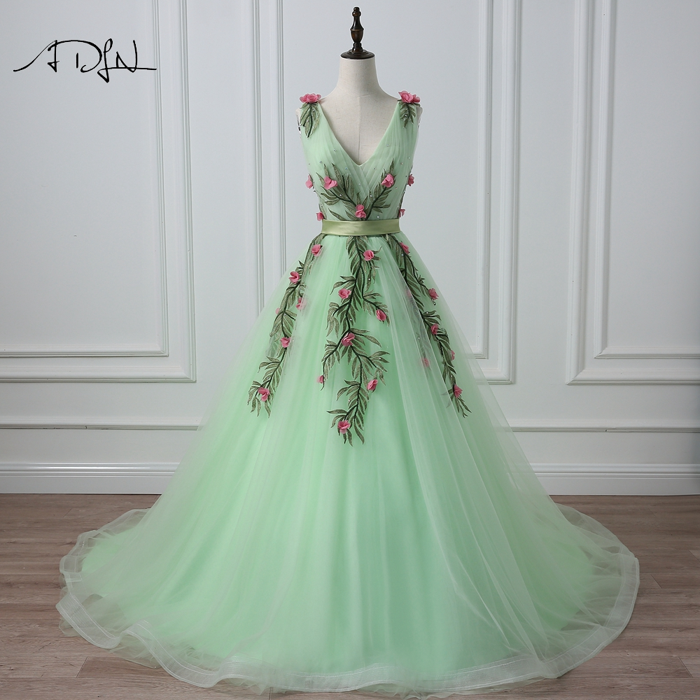 ADLN V-neck Sleeveless Evening Dress with Embroidery A-line Photography Gown Formal Prom Dress Vestidos de Festa