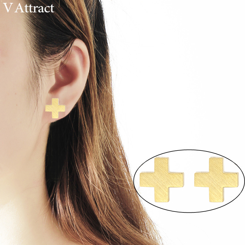 V Attract 10pair Stainless Steel Classic Cross Stud Earring For Women And Men Jewely Gold Silver Orecchini Best Friend Gift