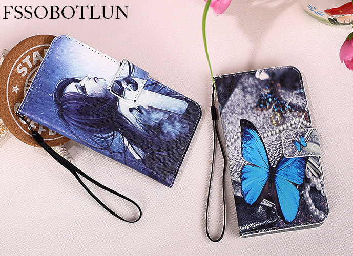FSSOBOTLUN,For XOLO Era 3X case 5.0 Fashion Painting Patterns PU Leather Stand Phone Flip Cover With 2 Card Slots