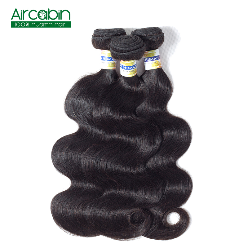 Brazilian Body Wave Bundles Human Hair Weave 3 Bundles AirCabin Remy Hair Extensions Nat ...