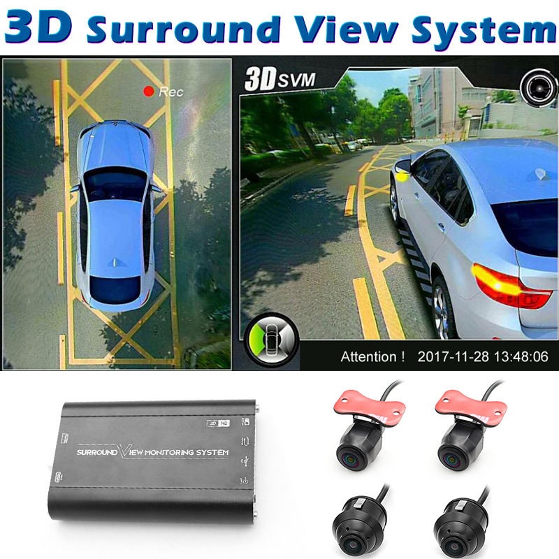 GreenYi 3D HD 360 système de surveillance de vue Surround de voiture, système de vue d'oiseau, 4 caméras DVR HD 1080 P enregistreur/surveillance de stationnement