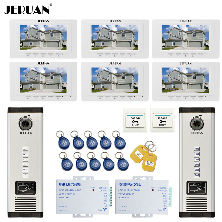 JERUAN 7`` LCD Video Intercom Door Phone system RFID Access Entry Security Kit For 2 Apartment Camera(6 button) to 6 monitor jeruan apartment 4 3 video door phone intercom system kit 2 monitor hd camera rfid entry access control 2 remote control